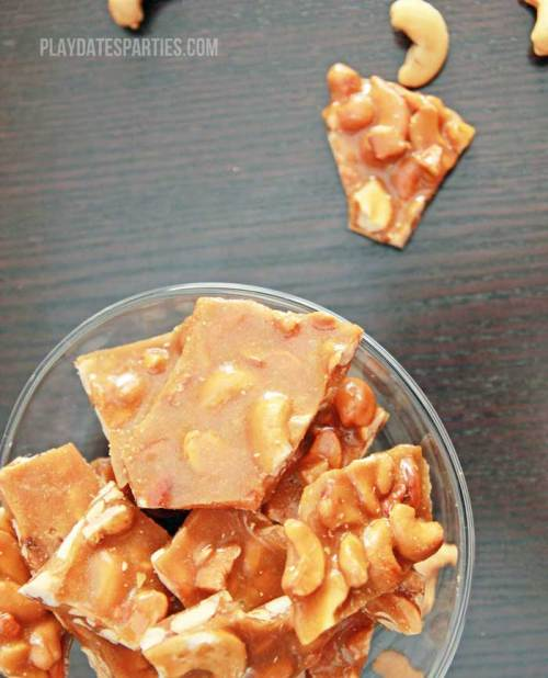 A twist on the classic peanut brittle, brown sugar cashew brittle is crunchy and sweet with a hint of toffee and vanilla.