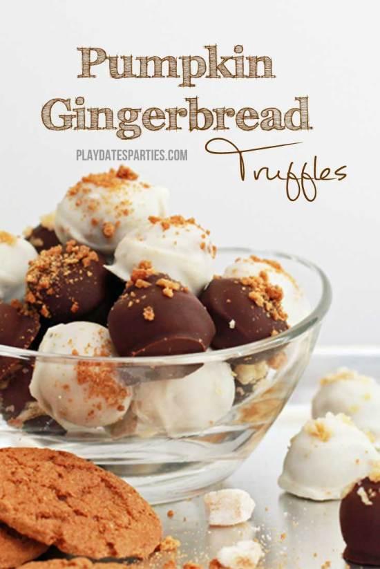 Pumpkin Gingerbread Truffles from playdatesparties.com