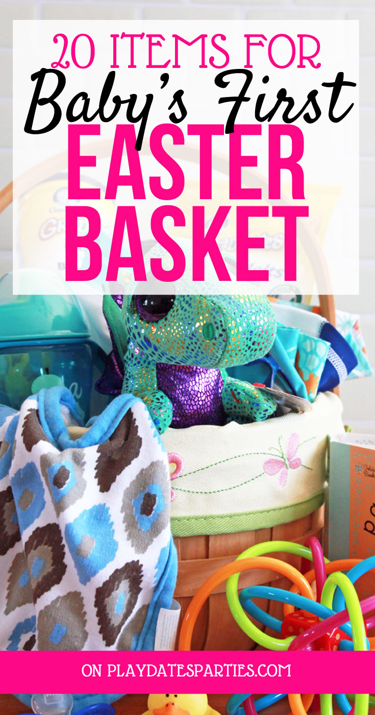 Looking for Easter gifts to give to baby? Here are 20 realistic list of items that are useful and fun for baby's first Easter basket. Bonus: They don't break the bank either! #baby #Easter #gifts #budget