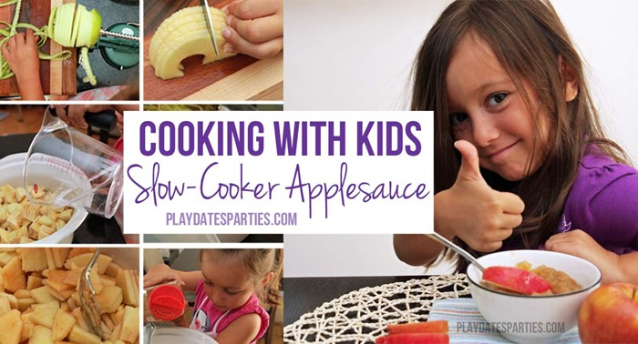 Cooking with Kids: This slow cooker applesauce recipe is easy, fun, healthy, and the perfect way to introduce cooking to your kids without using the burner or oven.