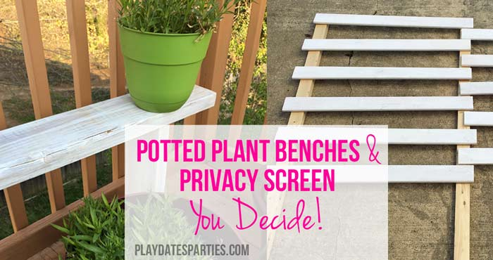 In this backyard renovation update, find out about the potted plant benches I made using leftover deck boards, and the in-progress privacy screen.