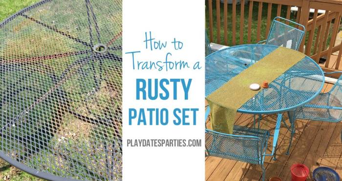 Don't throw away that old rusty outdoor furniture! Find out how to paint rusted metal furniture to make it like new again!