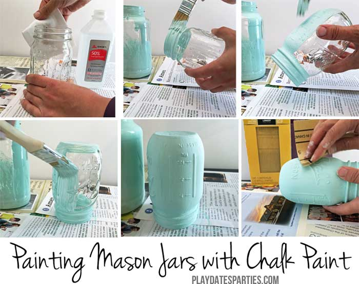 Learn how to paint mason jars, or other glass jars, with homemade chalk paint.