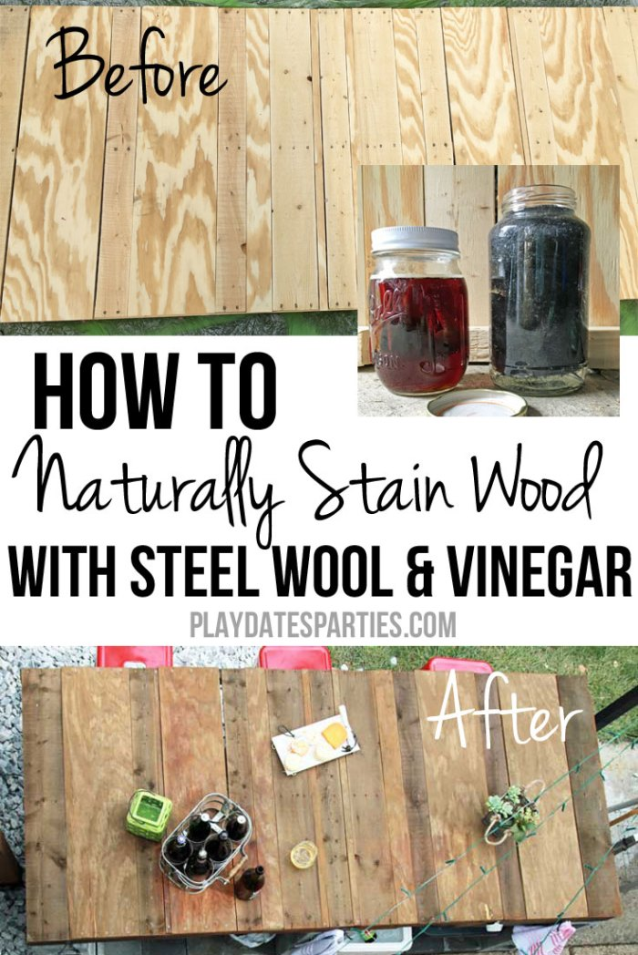Learn all about how to stain wood with vinegar and steel wool for a natural alternative to other wood stains; also perfect for that reclaimed-wood look!