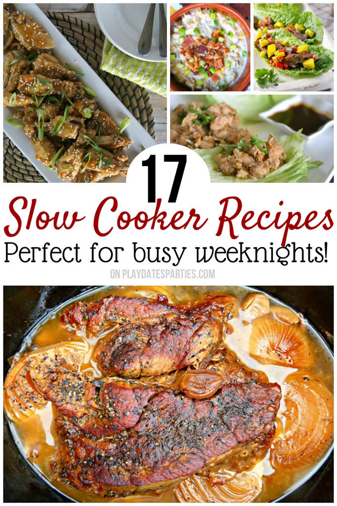 Slow cooker dinner recipes are one of the best ways to take the stress out of busy weeknights. But they don't have to be boring, either! These 17 #crockpot #recipes are easy to make and will add great variety to your weekly meal plan!