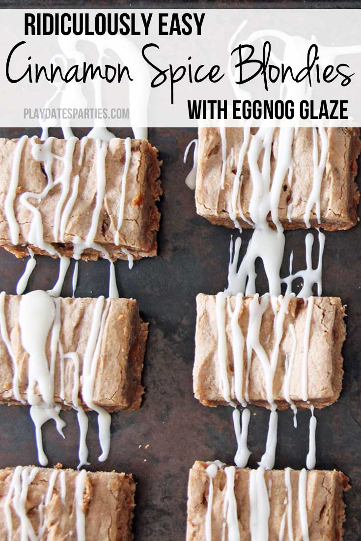 Cinnamon spice blondies with eggnog glaze are soft, with just the right amount of bite. And thanks to a simple cheat...they are ridiculously easy to make!