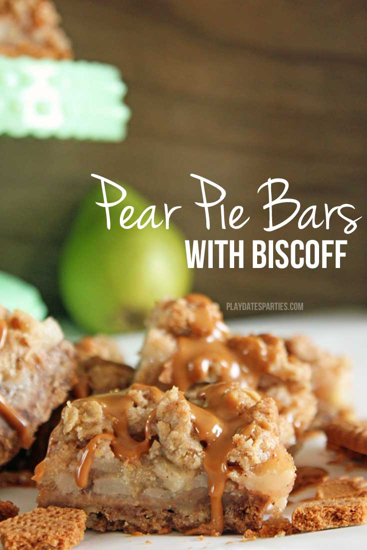 Pear pie bars with Biscoff are a must-try. Biscoff cookie shortbread crust is layered with sweet pears, streusel topping, and a drizzle of cookie butter.