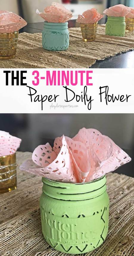 These 3-minute paper doily flowers are incredibly easy and make a beautiful impact when put together as a single flower or as a table-length centerpiece.