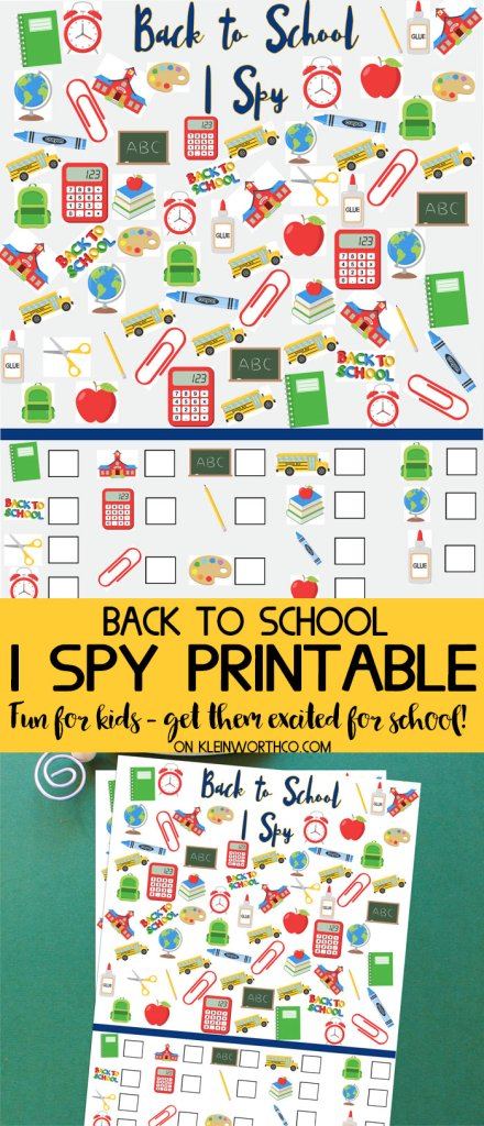Back to School I Spy Printable from Kleinworth & Co.