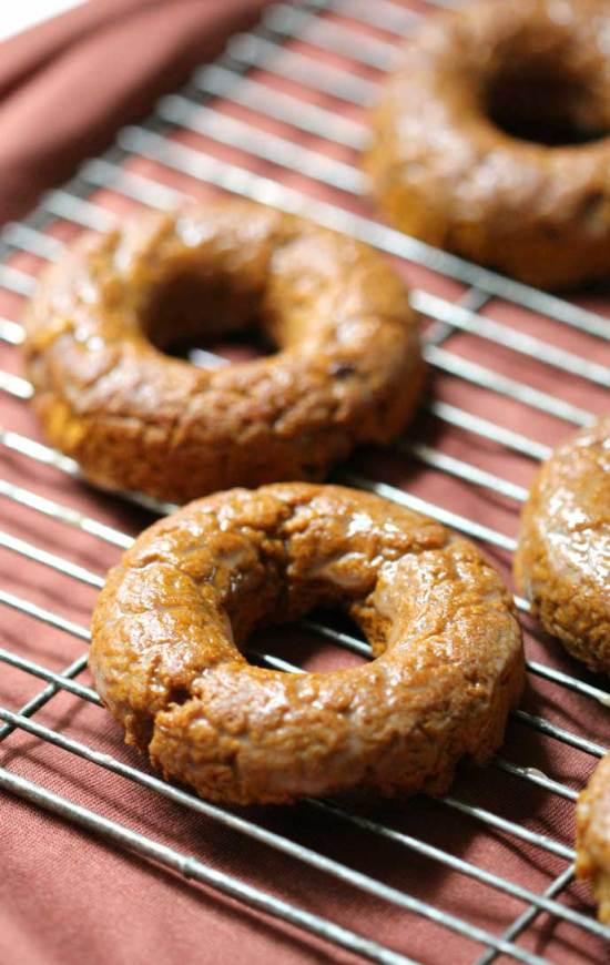 Gluten Free/Vegan/Paleo Cinnamon Glazed Pumpkin Doughnuts - by Strength and Sunshine