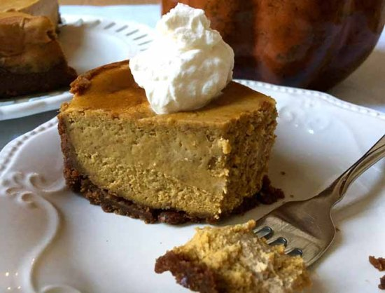 Pumpkin Spice Cheesecake with a Gingersnap Crust by Zesty Olive
