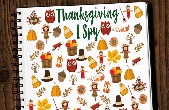 Free Thanksgiving I Spy Printable from Kleinworth & Co.