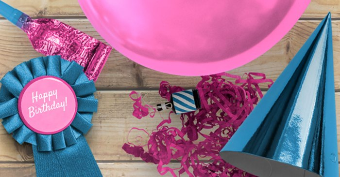Image of party decorations including a birthday badge, birthday hat, party blowout, and party popper.