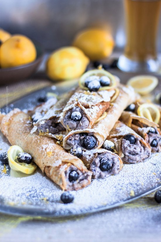 Hefeweizen Crepes with Ricotta, Blueberries & Lemon from Craft Beering.