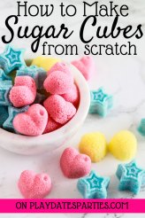 Looking for cheap tea party ideas to make for a bridal shower or Mother's Day? Let your kids get involved and learn how to make sugar cubes in fun shapes and colors that match your party perfectly. They are the perfect simple food crafts for an elegant high tea that can also double as party favors. #kidsparty #MothersDay #bridalshower