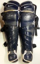 Mike Zunino Signed Game Used Shin Guards – Blue/White