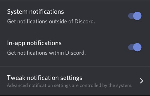 system notifications