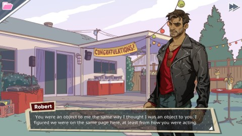 "A screenshot showing popular scruffy edgelord Robert telling the player character ""You were an object to me the same way I thought I was an object to you. I figured we were on the same page here."""