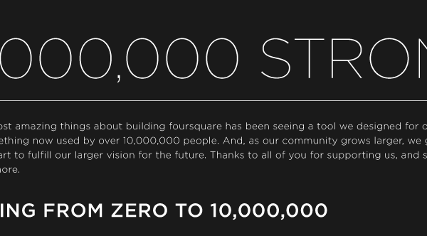 foursquare reach 1 million