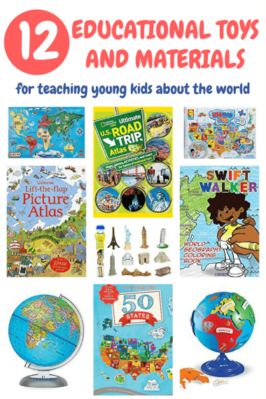 If you are looking for fun, engaging ways to teach geography to your children, here is a list of educational toys and materials for teaching young kids about the world. | Geography toys for toddlers | Geography resources for toddlers | Geography toys for preschoolers | Geography materials for preschoolers
