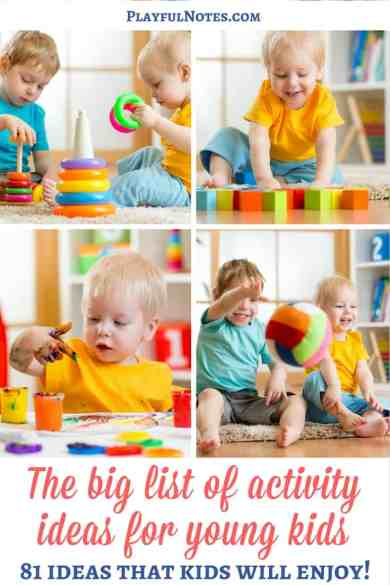 Activity ideas for young kids: If you like to do activities with your children, you will love this list of activity ideas for young kids! You'll find here 81 ideas to try and enjoy! | Activity ideas for kids | Activity ideas for preschoolers | Activity ideas for toddlers | Play ideas for kids