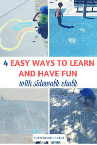 If your child likes to play outside, here are 4 great ideas to learn and play with sidewalk chalk that can bring a lot of fun! | Sidewalk chalk games | Sidewalk chalk activities for kids | Sidewalk chalk activities for preschoolers