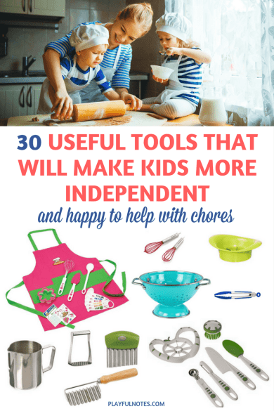 Practical tools for kids: If you are looking for tools that encourage young kids to be independent and help with chores, here is a list of 30 tools that you can use in your home! | Montessori tools for kids | Practical life tools for kids | Montessori tips | Tools that encourage independence in kids | Montessori ideas