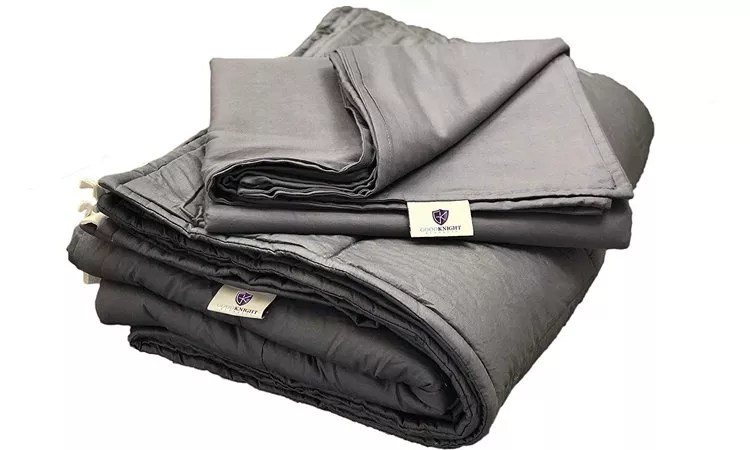 Good Knight Weighted Blankets For Autism ADD Stress Anxiety Hypoallergenic Poly-Pellets Washable 100% Cotton Material