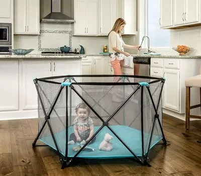 Regalo My Portable Play Yard Indoor and Outdoor, Bonus Kit, Includes Carry Case, Washable, Aqua, 6-Panel