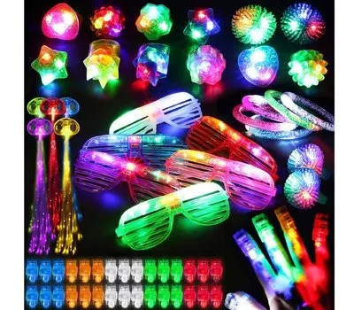 78PCs LED Light Up Toy Party Favors Glow In The Dark,Party Supplies Bulk For Adult Kids Birthday Halloween With 50 Finger Light, 12 Jelly Ring