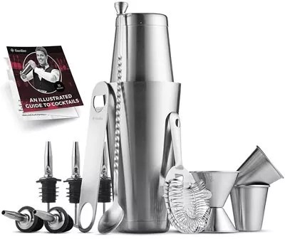 Premium Cocktail Shaker Bar Tools Set (14 piece) Brushed Stainless Steel Bartender Kit, with All Bar Accessories, Cocktail Strainer, Double Jigger, Bar Spoon, Bottle Opener, Pour Spouts