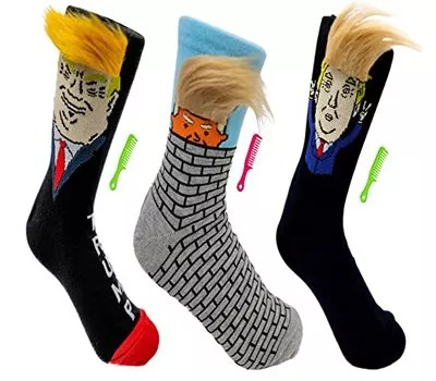 TrumpHall trump socks with comb over hair and brush men and women 2020 election socks funny donald