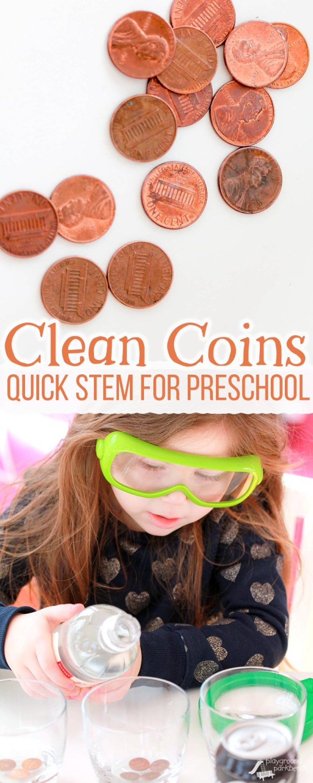 Clean Coins Quick Stem Activity Preschool