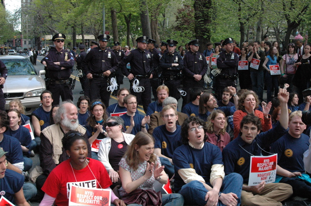 New York University graduate student employees protest disproportionate compensation in April 2006. The American Association of University Professors also participated in the event. Image courtesy of AAUP.