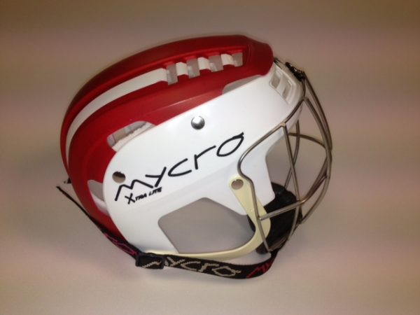 Hurling Helmet Mycro Red white stripes