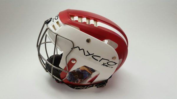 Hurling Helmet Mycro Red white stripes1