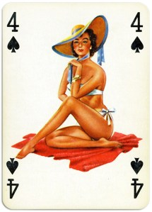 Pinup cards by Piatnik Baby Dolls from 1956 Four of spades