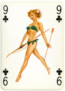 Pinup cards by Piatnik Baby Dolls from 1956 Nine of clubs