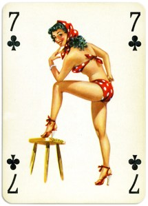 Pinup cards by Piatnik Baby Dolls from 1956 Seven of clubs