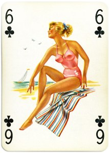 Pinup cards by Piatnik Baby Dolls from 1956 Six of clubs
