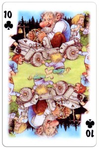 #PlayingCardsTop1000 – 10 of clubs Trolls cartoons playing cards by Rolf Lidberg