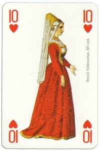 10 of hearts Renaissance clothes card