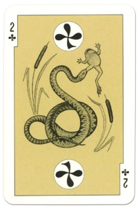 #PlayingCardsTop1000 – 2 of clubs dark power Russian fairy tale cards