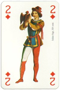 2 of diamonds Renaissance clothes card
