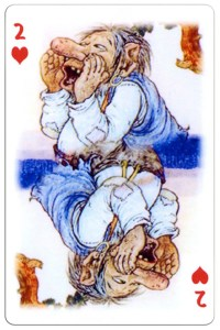 2 of hearts Trolls cartoons playing cards by Rolf Lidberg