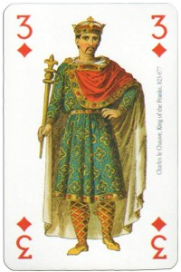 #PlayingCardsTop1000 – 3 of diamonds Modiano deck Middle Ages