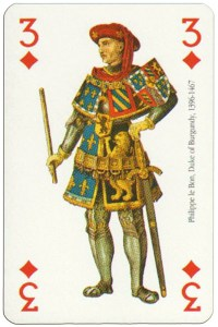 3 of diamonds Renaissance clothes card
