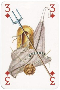 3 of diamonds from Gladiators deck designed by Severino Baraldi
