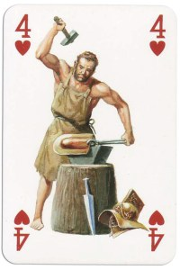 4 of hearts from Gladiators deck designed by Severino Baraldi