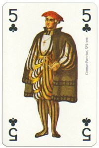 #PlayingCardsTop1000 – 5 of clubs Renaissance clothes card